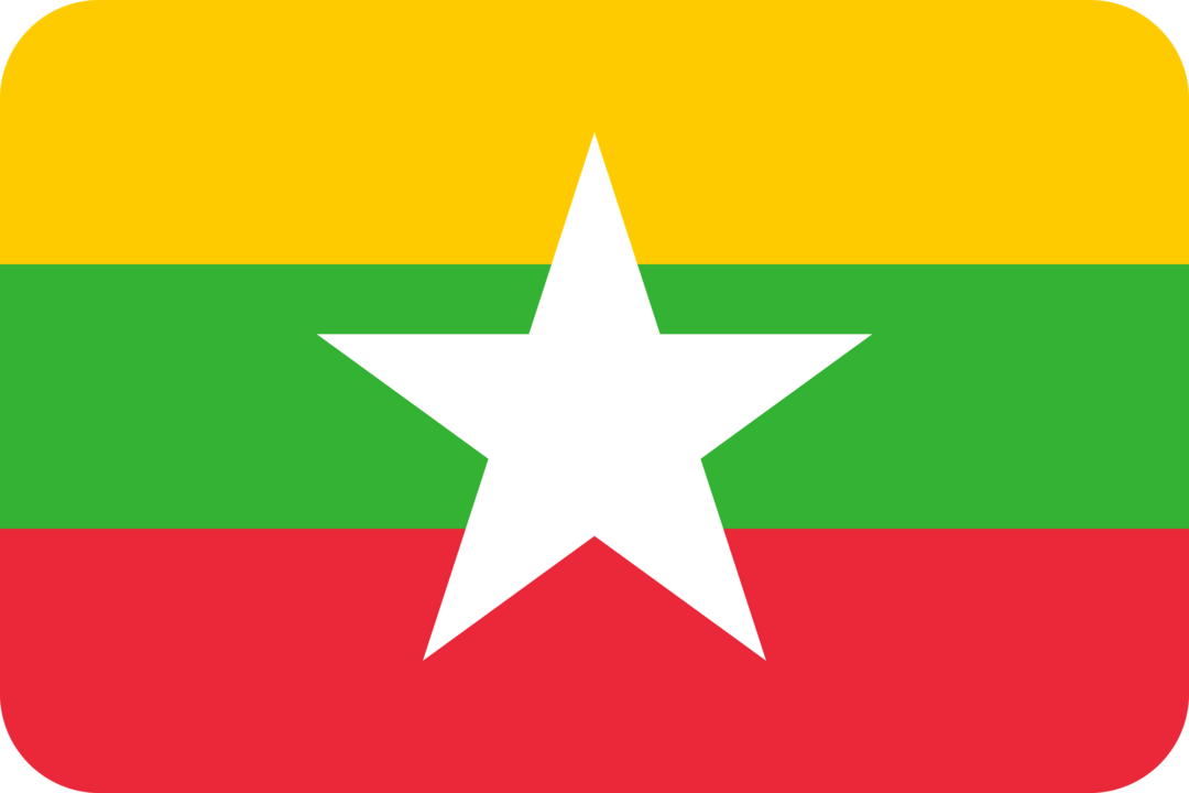 Myanmar flag with rounded corners