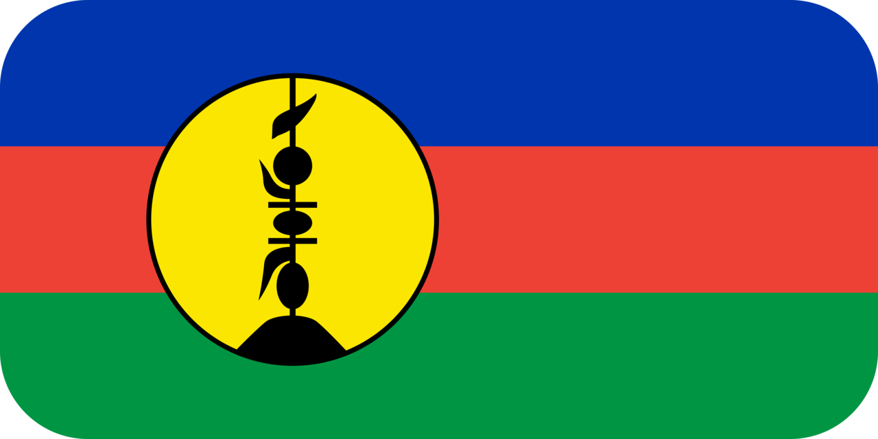 New Caledonia flag with rounded corners