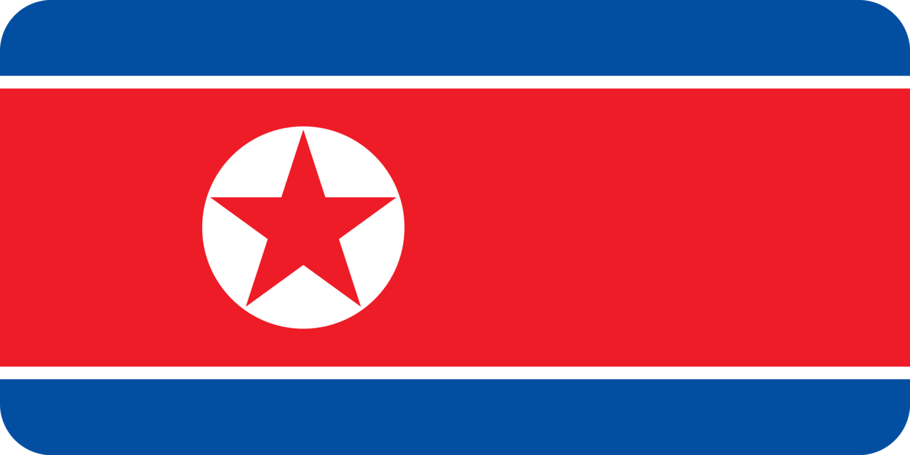 North Korea flag with rounded corners