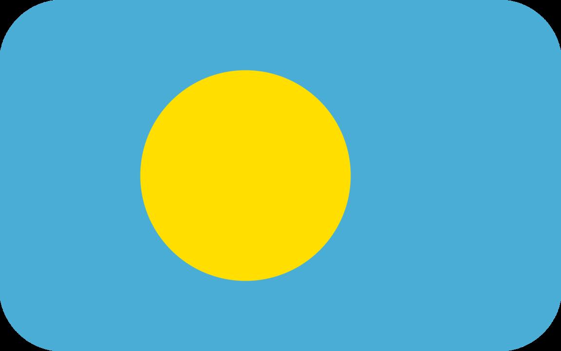 Palau flag with rounded corners
