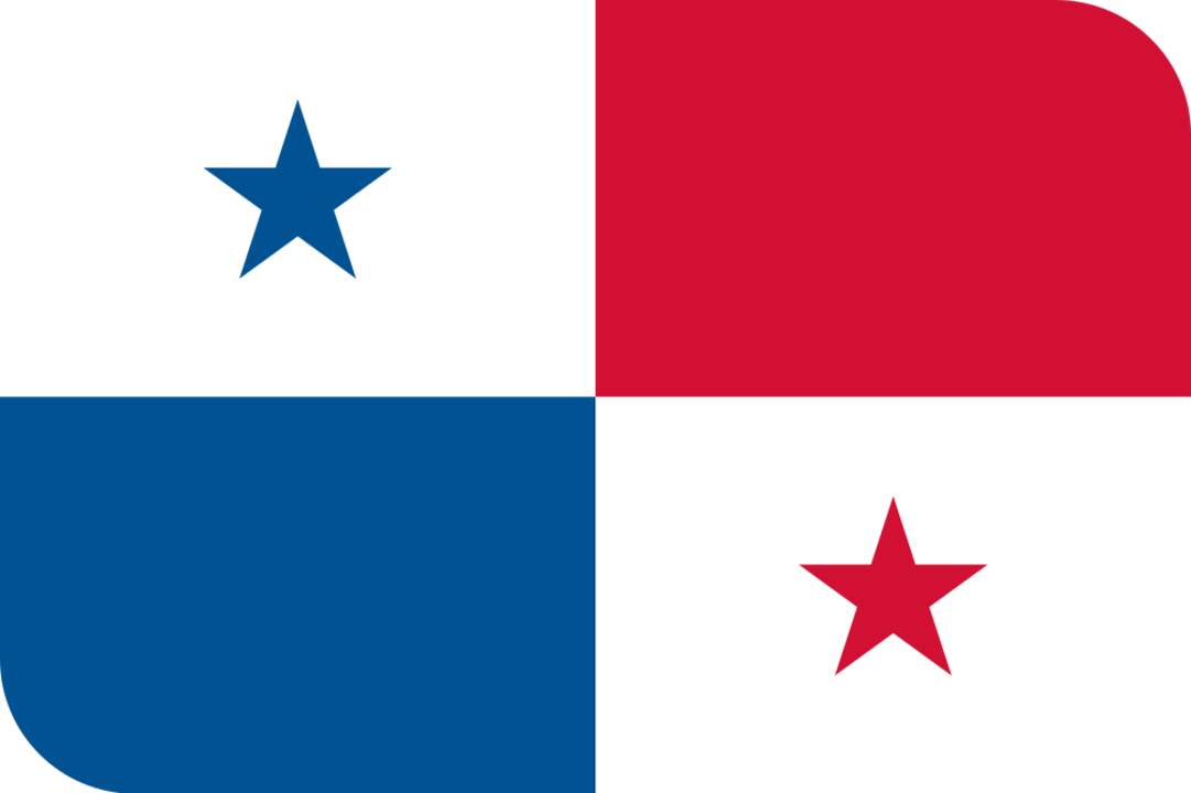 Panama flag with rounded corners