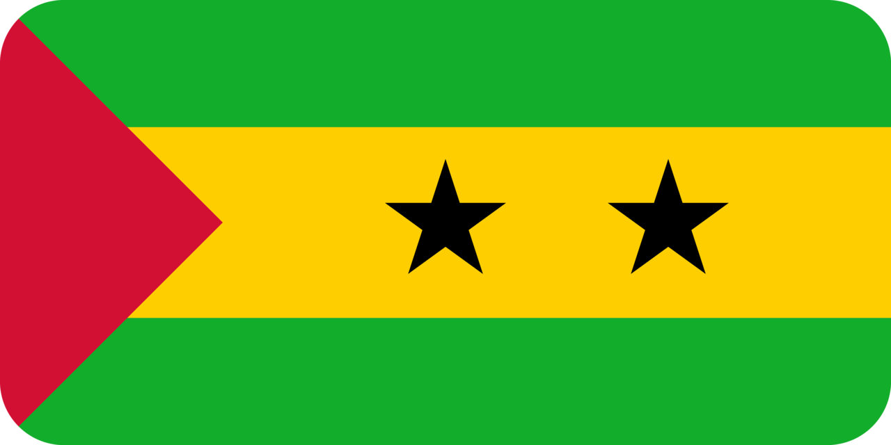 Sao Tome and Principe flag with rounded corners