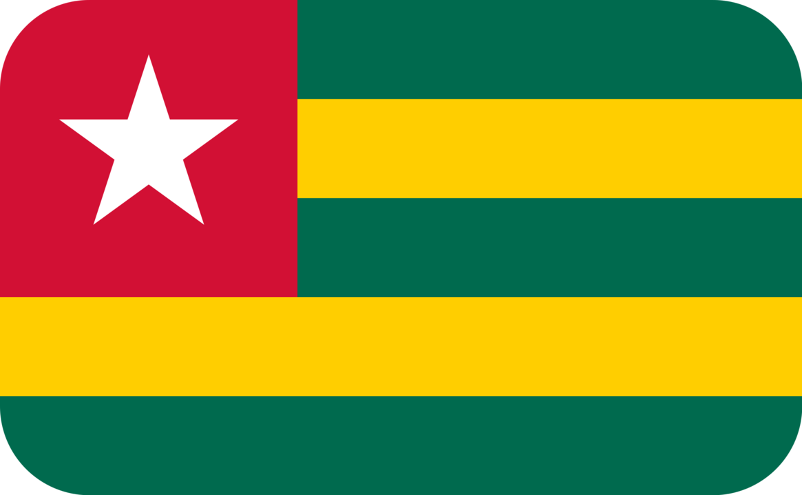 Togo flag with rounded corners