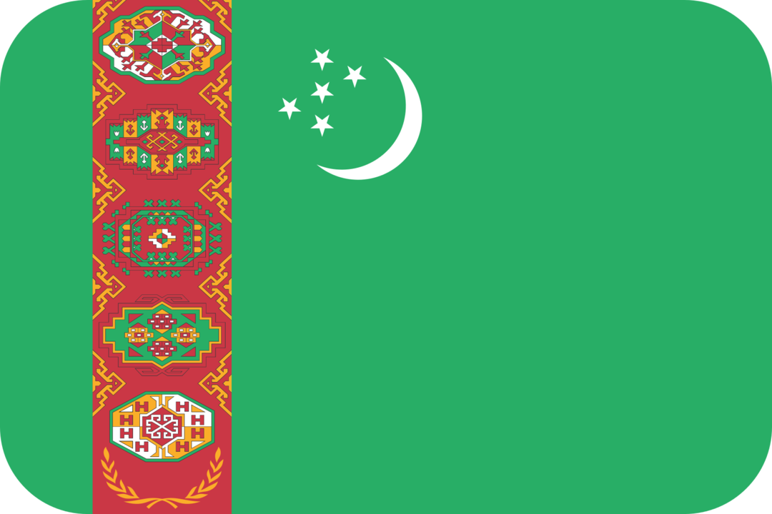 Turkmenistan flag with rounded corners