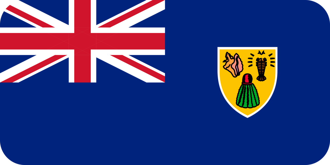Turks and Caicos Islands flag with rounded corners