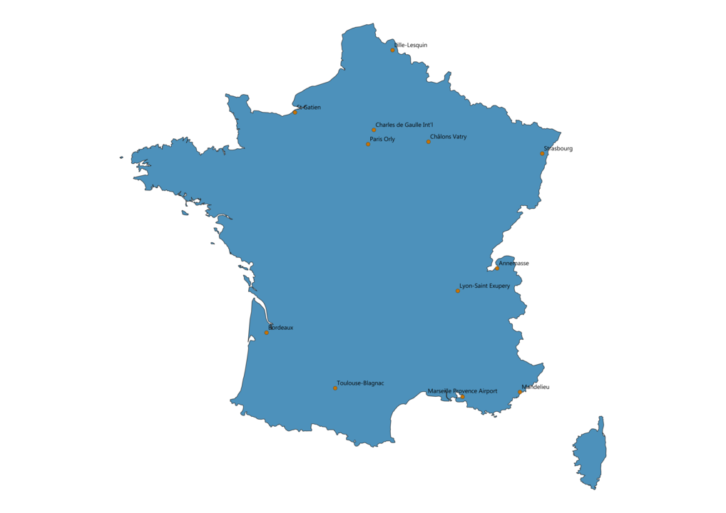 Map of Airports in France