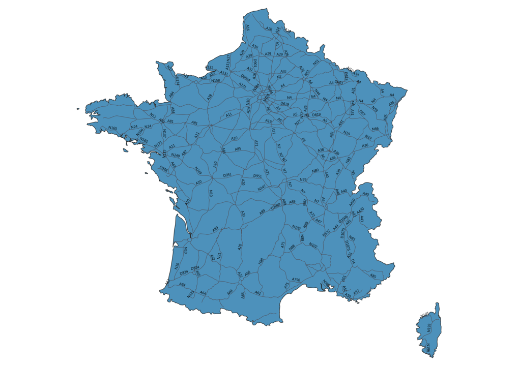 Map of Roads in France