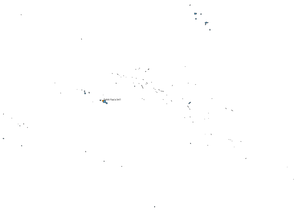 Map of Airports in French Polynesia