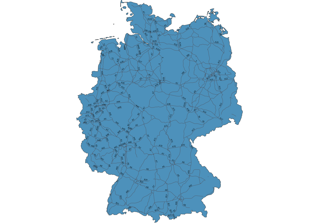 Map of Roads in Germany