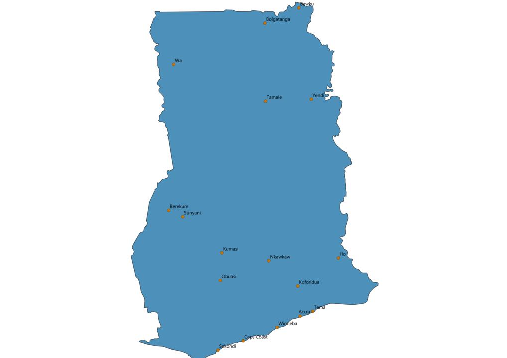 Ghana Cities Map