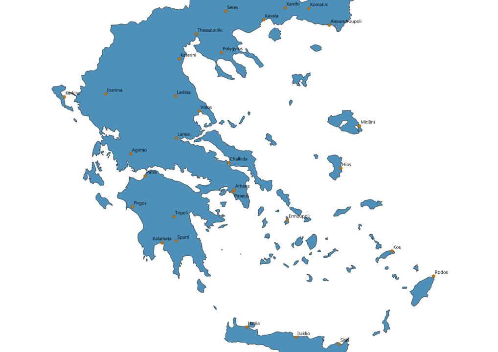 Greece Cities Map