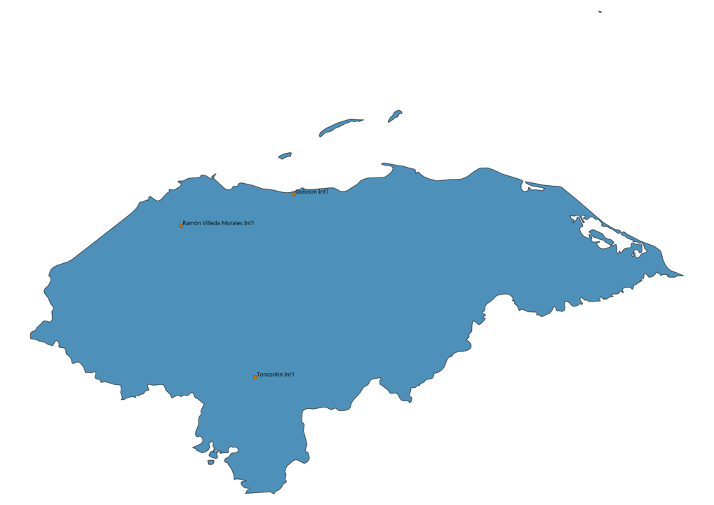 Map of Airports in Honduras