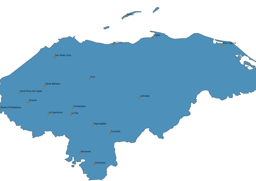 Honduras Cities Map