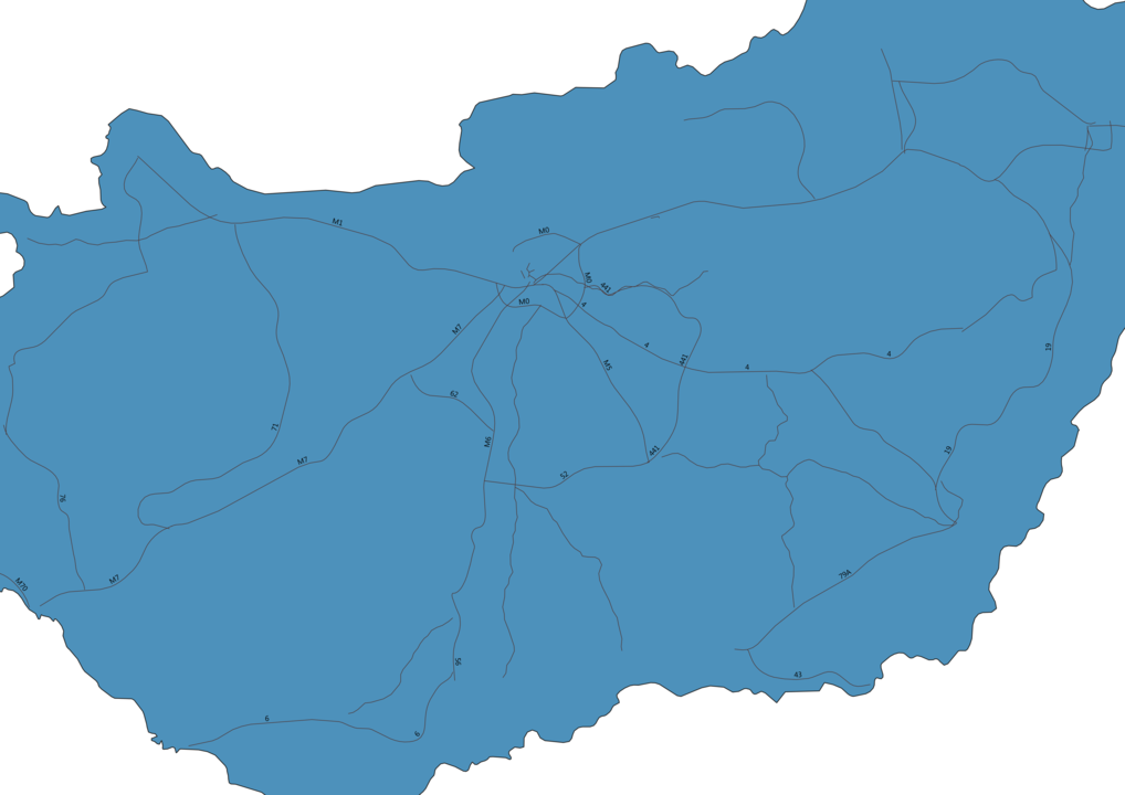 Map of Roads in Hungary