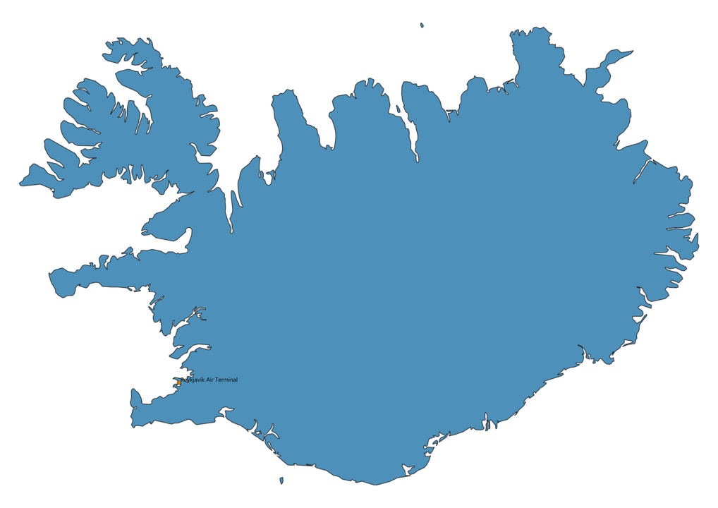 Map of Airports in Iceland