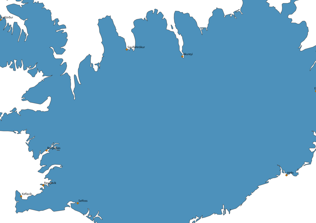 Iceland Cities Map