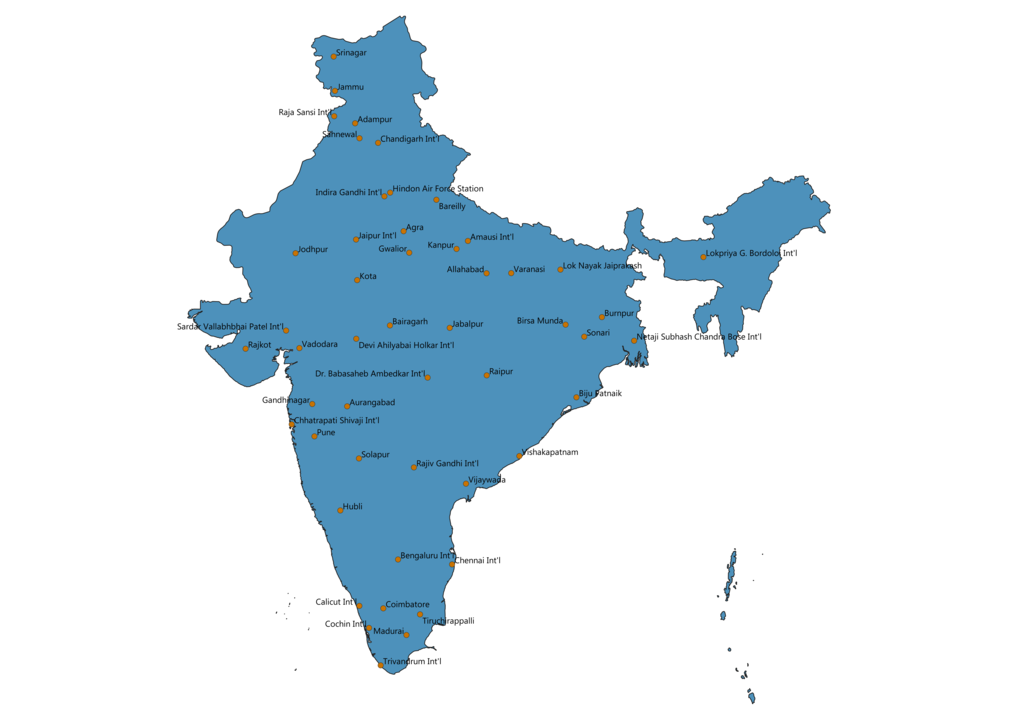 Map of Airports in India