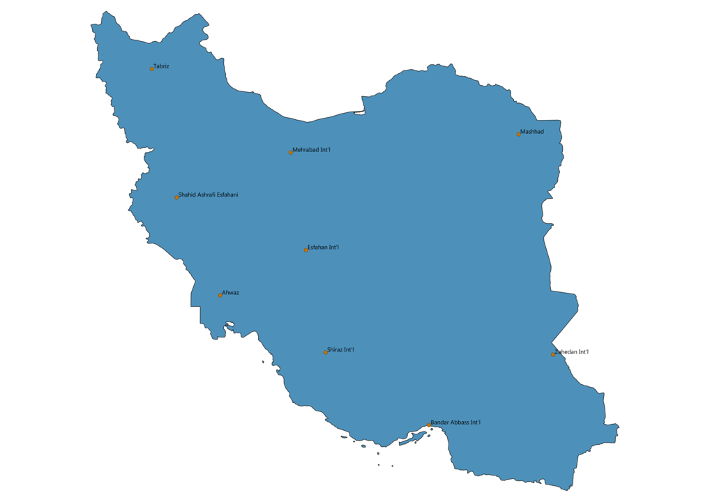 Map of Airports in Iran
