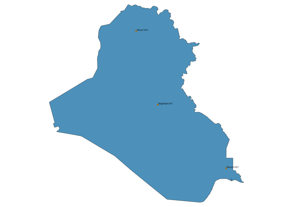 Map of Airports in Iraq