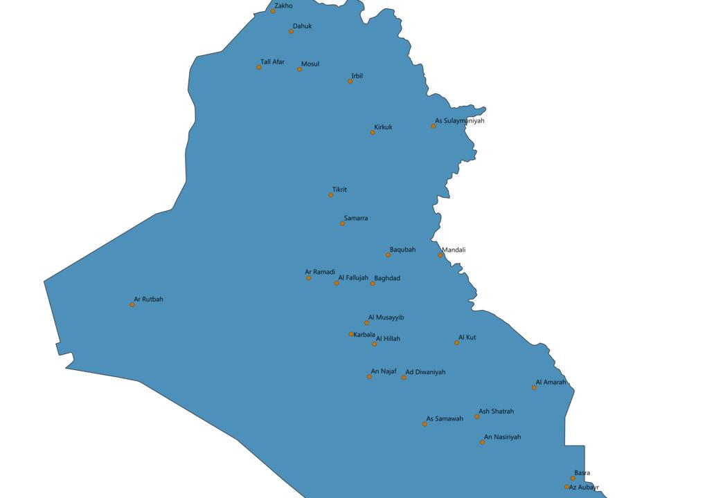 Iraq Cities Map