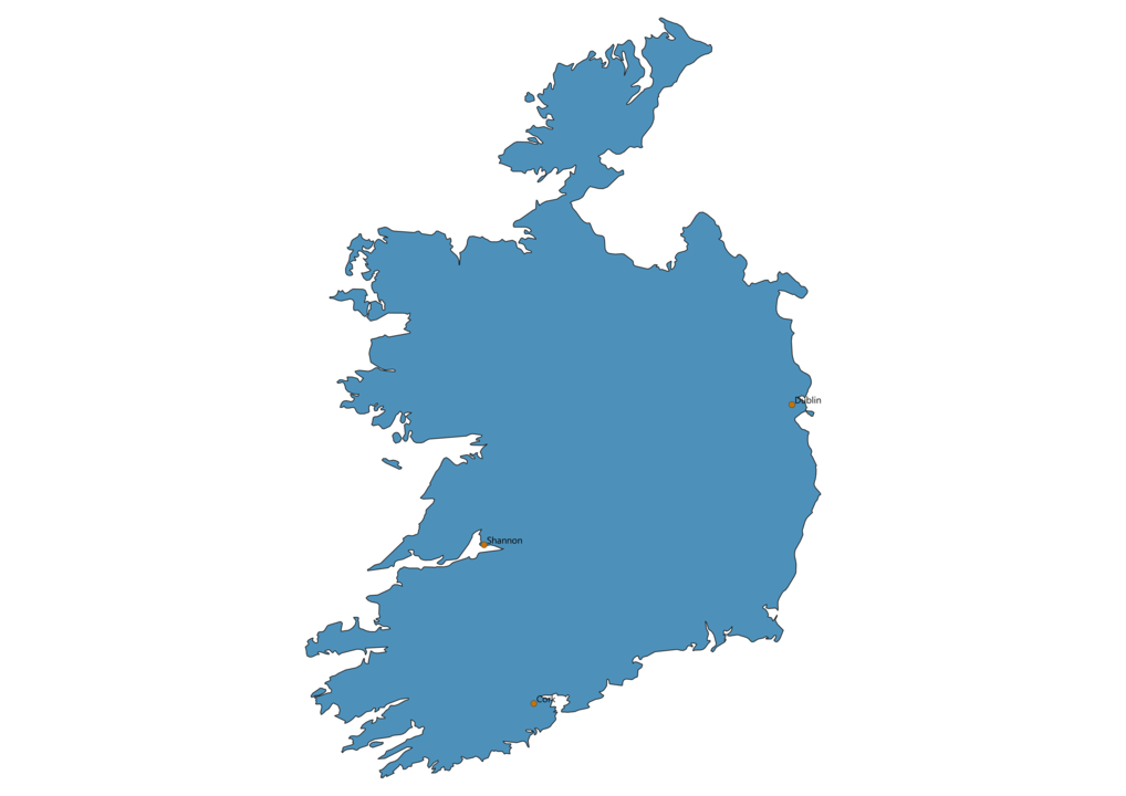 Map of Airports in Ireland