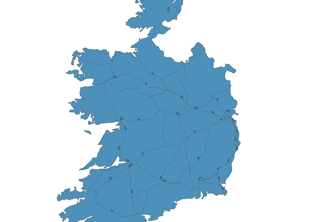 Map of Roads in Ireland