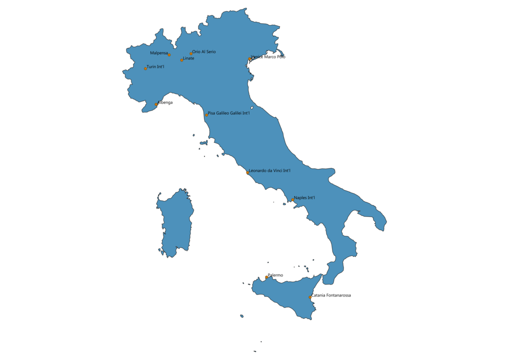 Map of Airports in Italy
