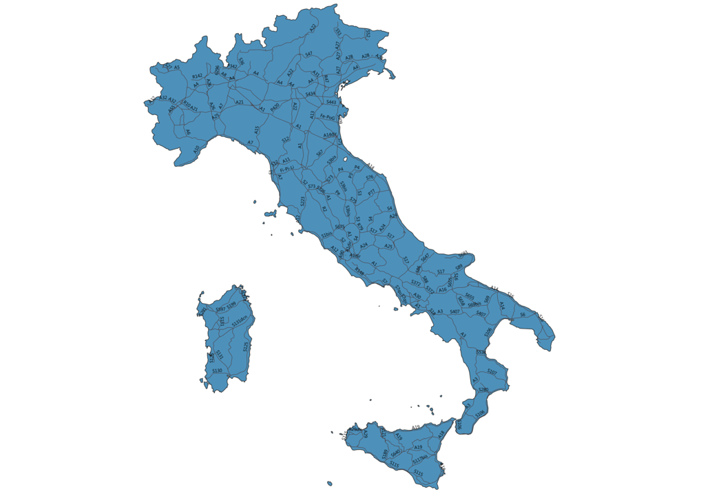 Map of Roads in Italy