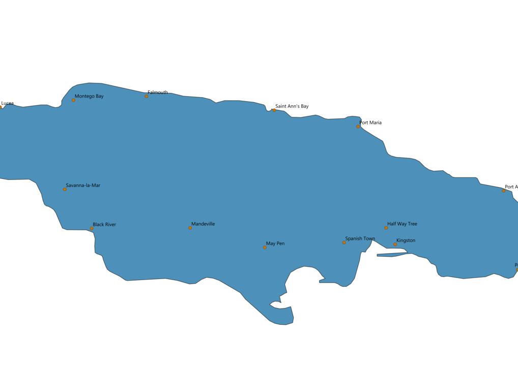 Jamaica Cities Map