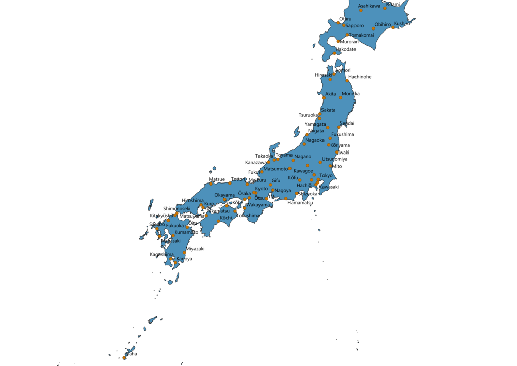 Japan Cities Map