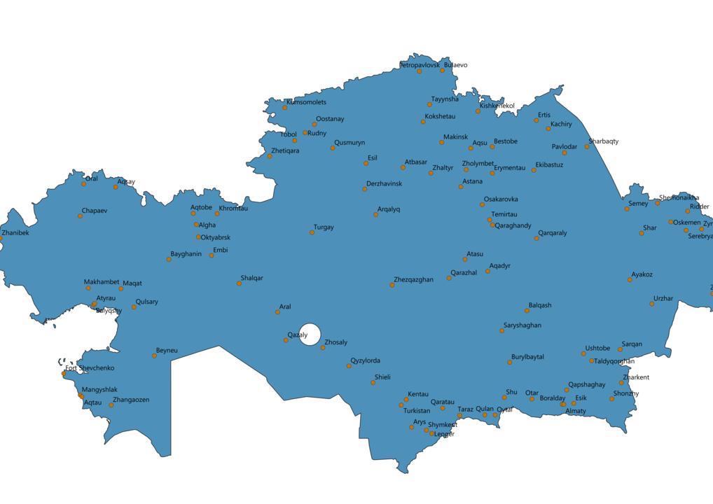 Kazakhstan Cities Map