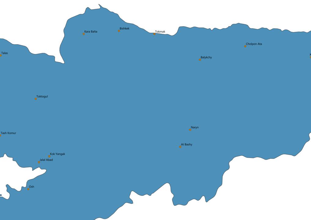 Kyrgyzstan Cities Map