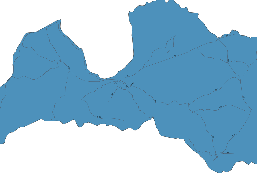 Map of Roads in Latvia