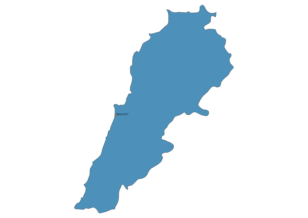 Map of Airports in Lebanon