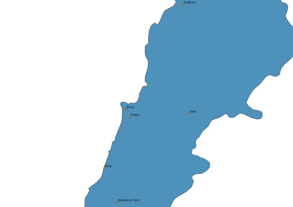 Lebanon Cities Map
