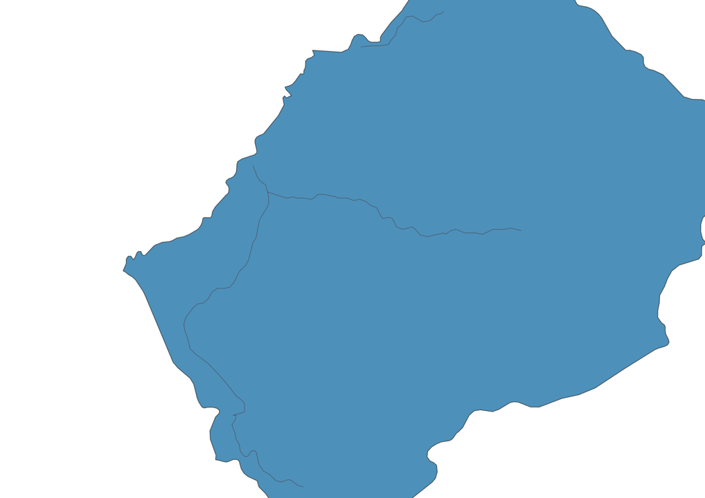 Map of Roads in Lesotho