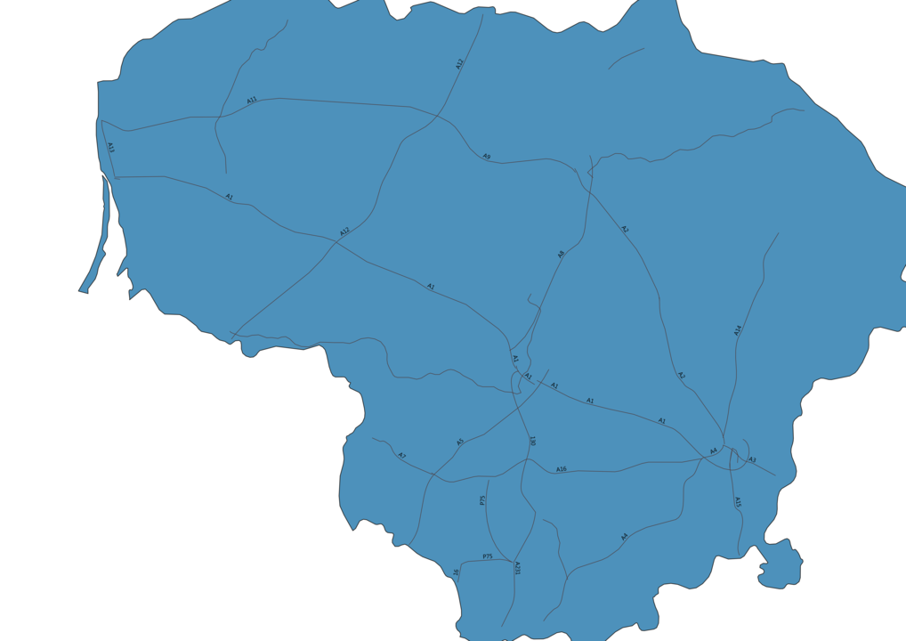 Map of Roads in Lithuania
