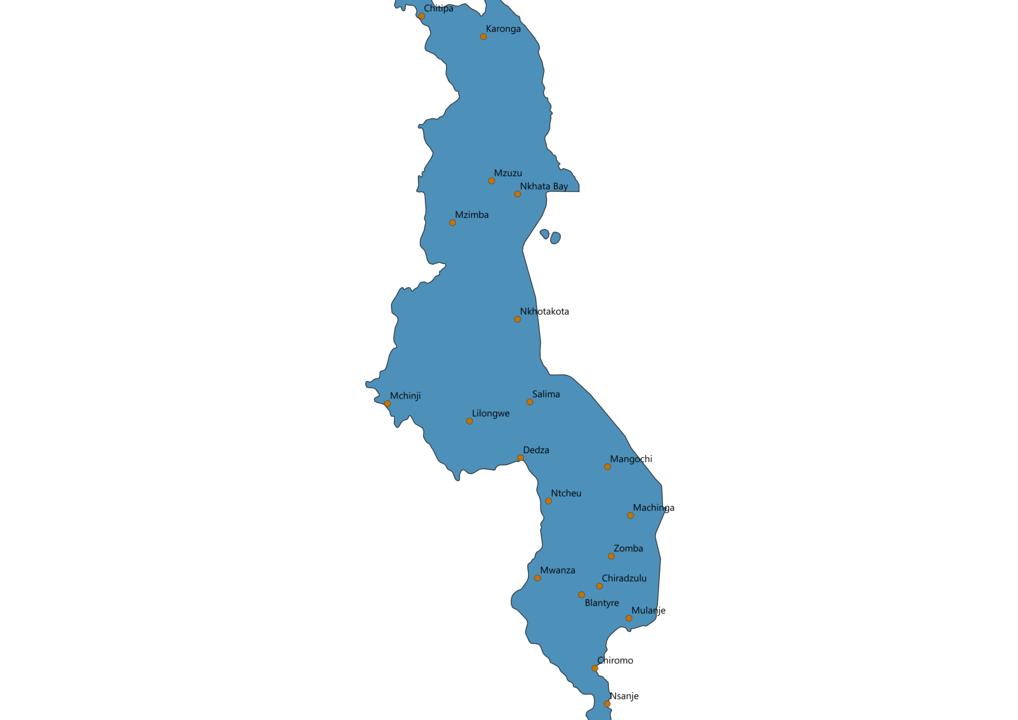 Malawi Cities Map