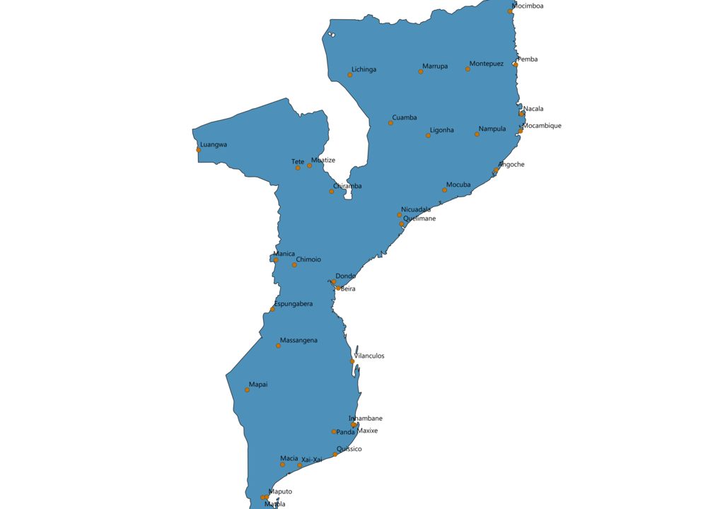 Mozambique Cities Map