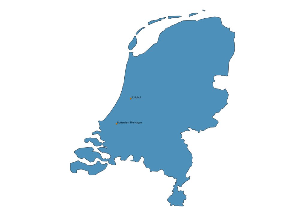 Map of Airports in Netherlands