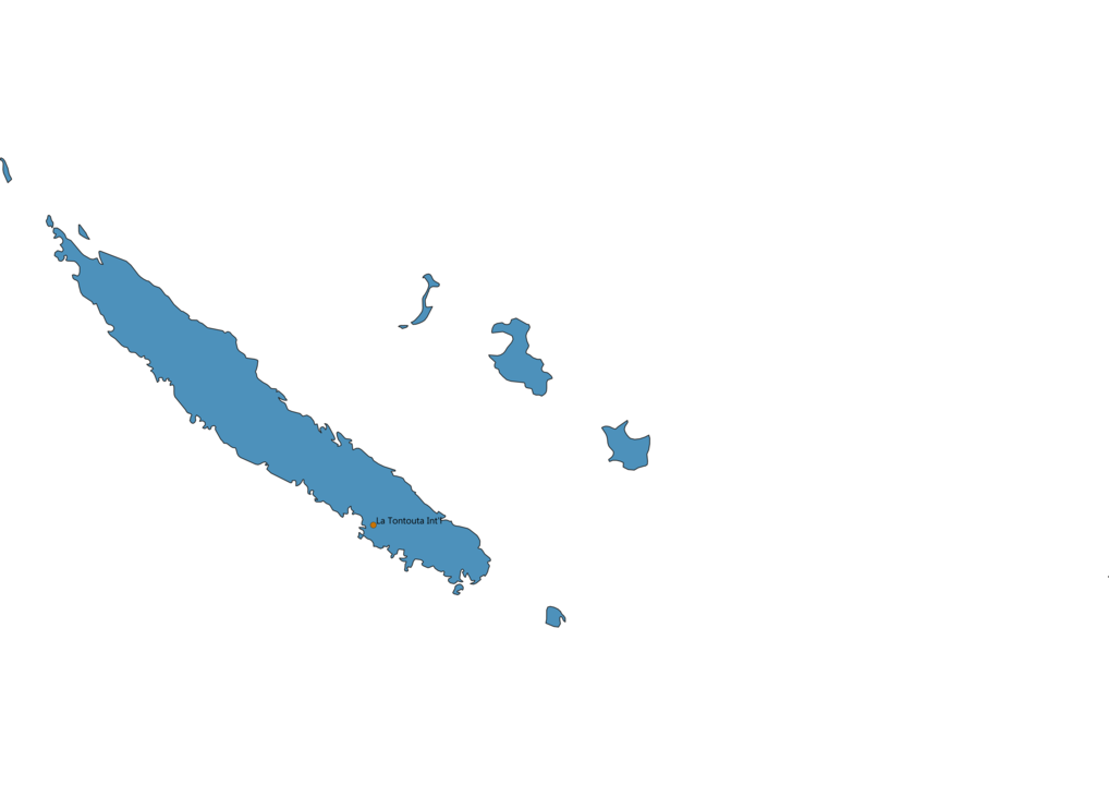 Map of Airports in New Caledonia