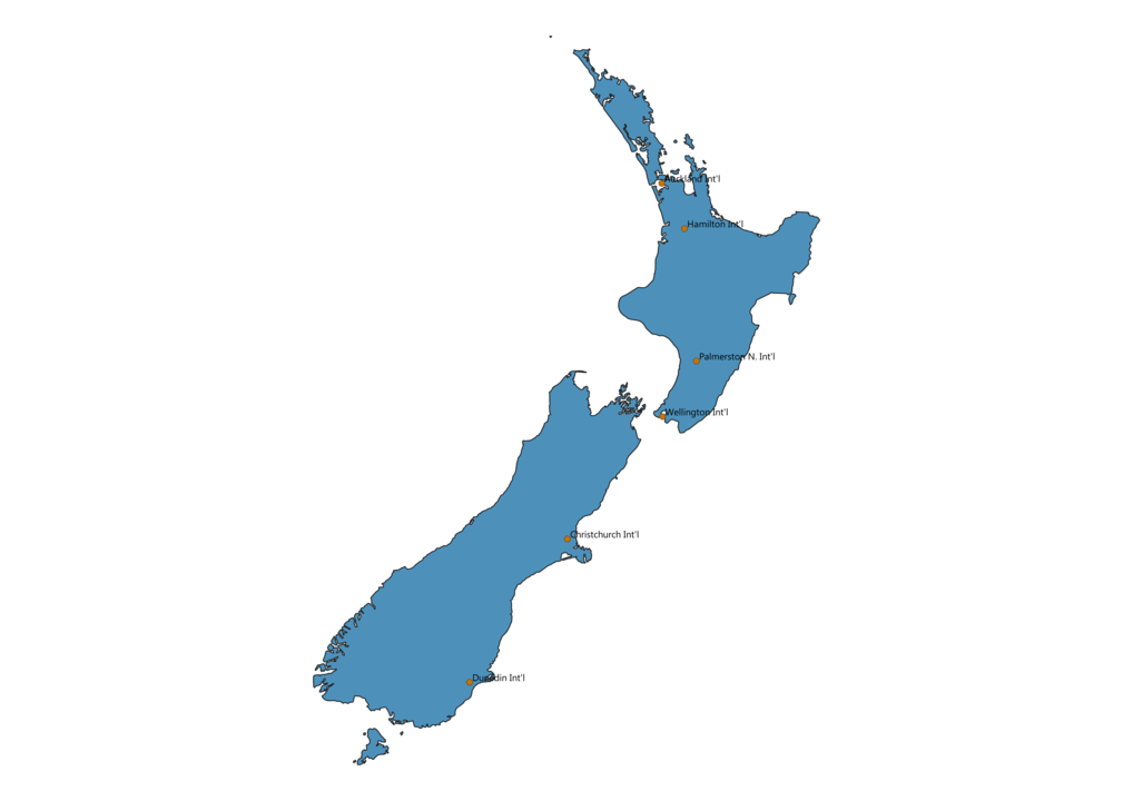 Map of Airports in New Zealand
