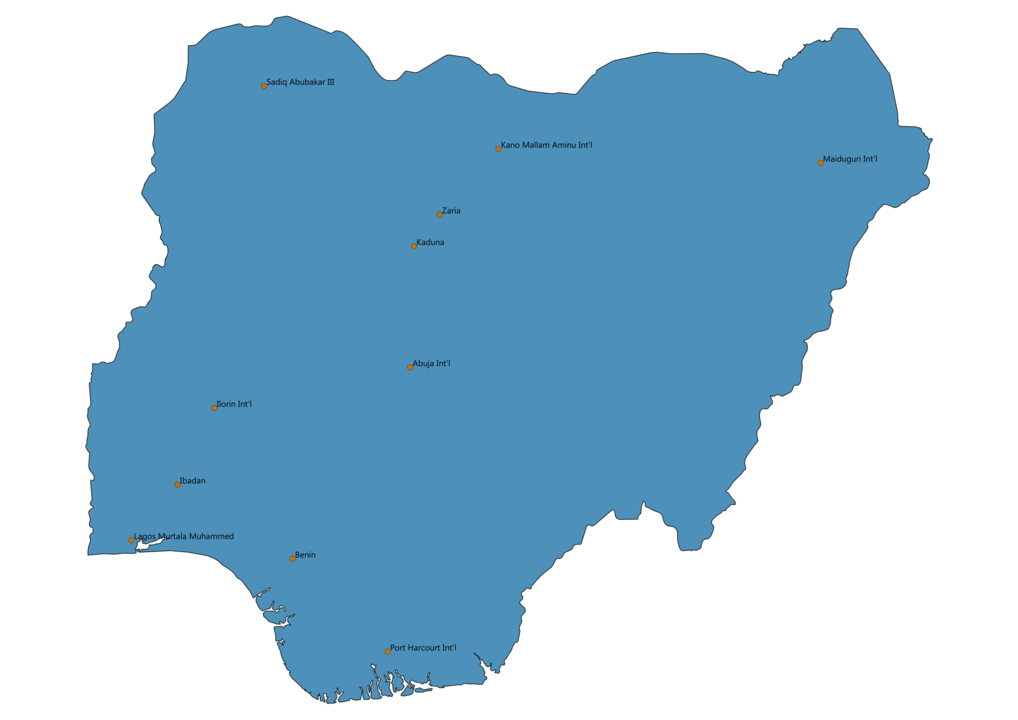 Map of Airports in Nigeria