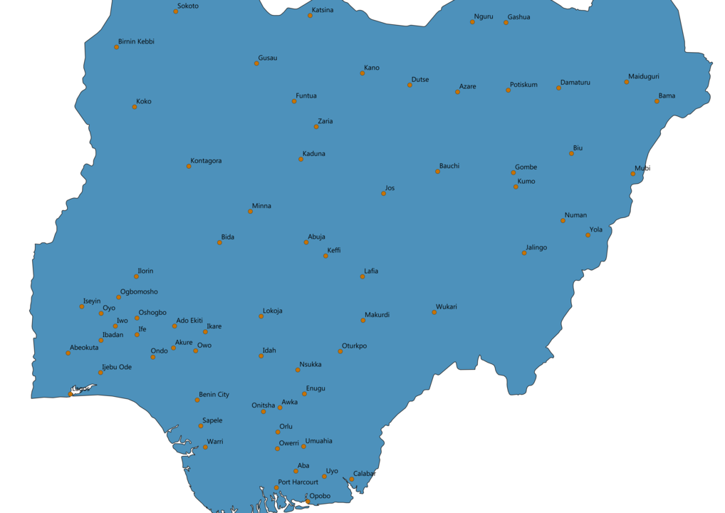 Nigeria Cities Map
