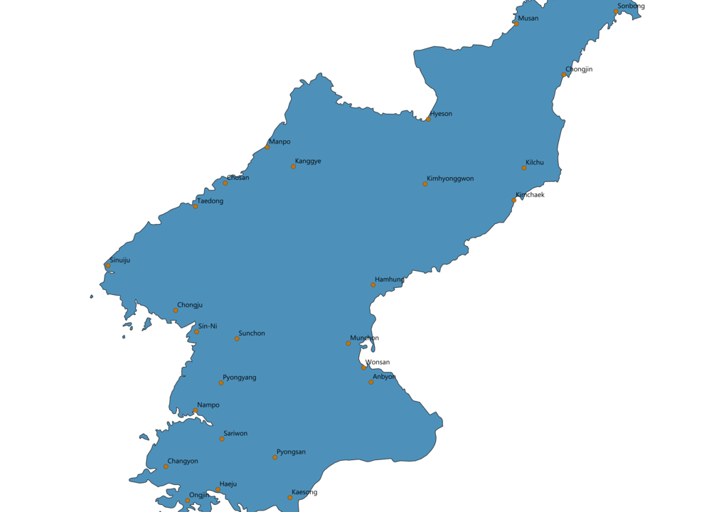 North Korea Cities Map