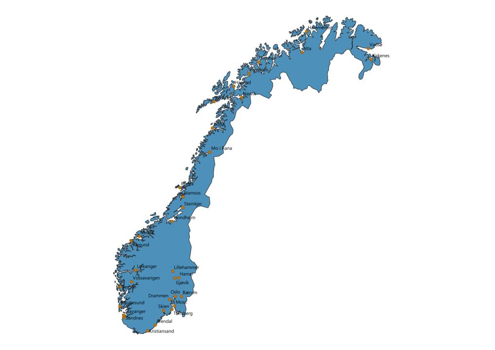 Norway Cities Map