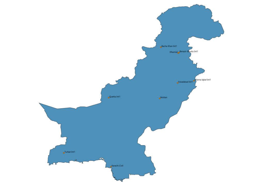 Map of Airports in Pakistan
