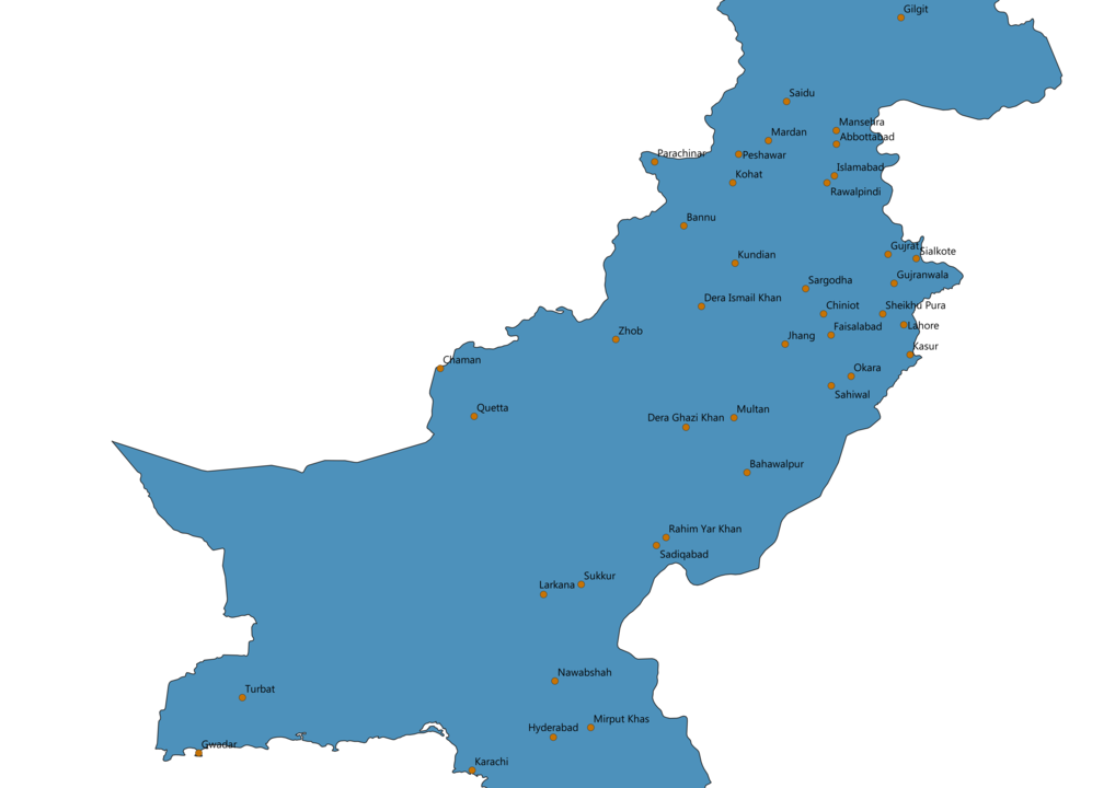 Pakistan Cities Map