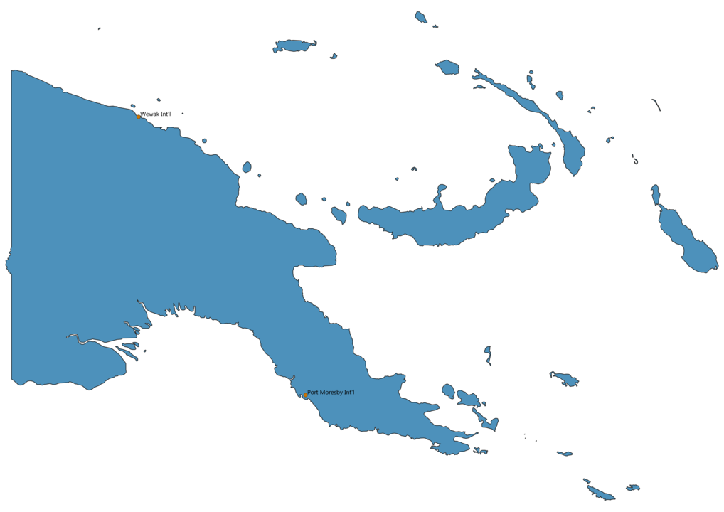 Map of Airports in Papua New Guinea