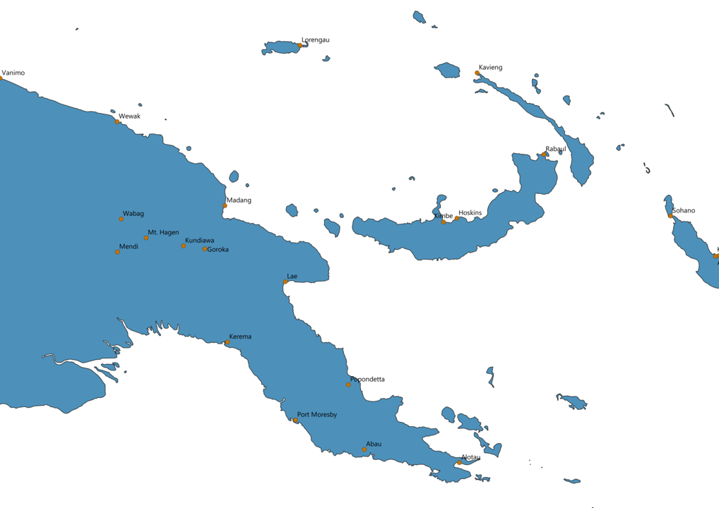 Papua New Guinea Cities Map